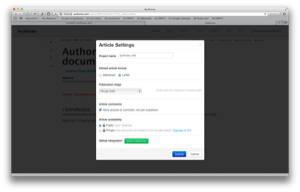 Article Settings with deploy key button